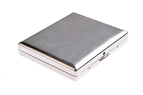Quantum Abacus Zigarettenetui aus hochwertigem Stahl, klassisch minimalistisch, für 18 Zigaretten, Mod. KC1-01 (DE)
