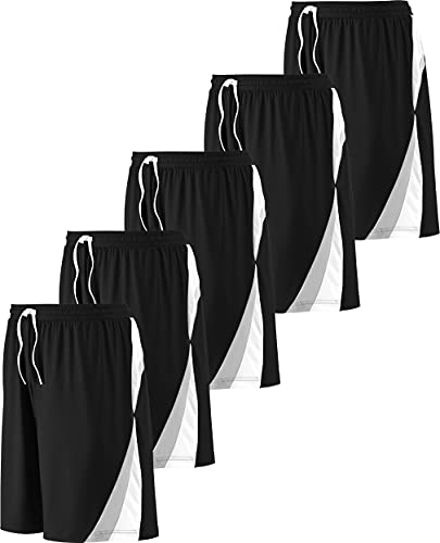 Active Club Athletic Shorts for Men - 5 Packs with Elastic Waist, No Pockets (5Pack-Black, XX-Large, xx_l)