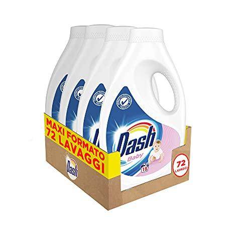 Dash Detersivo Lavatrice Liquido per Bambini, 72 Lavaggi (4 x 18), Dermatologicamente Testato per Pelli Sensibili, Maxi Formato, Pulizia Profonda, Per Tutti I Capi