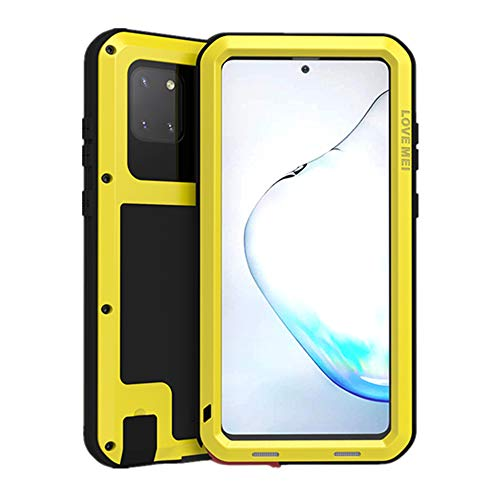 LOVE MEI for Samsung Galaxy Note 10 Lite Case, Aluminum Metal Gorilla Glass Waterproof Shockproof Military Heavy Duty Sturdy Protector Cover Hard Case for Samsung Galaxy Note 10 Lite (Yellow)