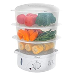 Food steamer with 3-tier stackable BPA-free transparent baskets, BPA free rice bowl, total 9.5 quarts (9L), makes cooking safe Turbo steam ring designs with 800W power to start generating steam in less than 40 seconds 60-minutes timer with safety aut...