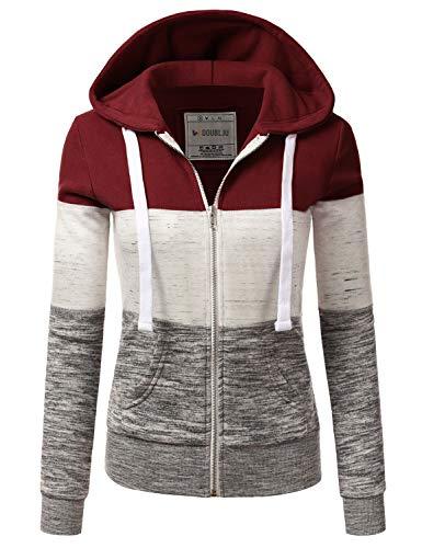 Doublju Lightweight Thin ZipUp Hoodie Jacket for Women with Plus Size Burgundy 1X