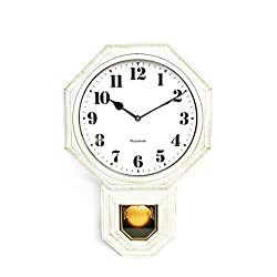 Signature White Antique Mini Pendulum Wall Clock, Simulated Metallic Vintage Texture, Non-Ticking Silent Sweep Movement, 11.4 x 17 x 2.4, Retro Classic Style, Plastic Frame with ABS Glass (White)