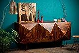 Native Home Cómoda TAIMANA 3D, Moderno, con Puertas, Madera de Mango Natural, Aparador, Marrón Oscuro, 85 x 180 x 57 cm