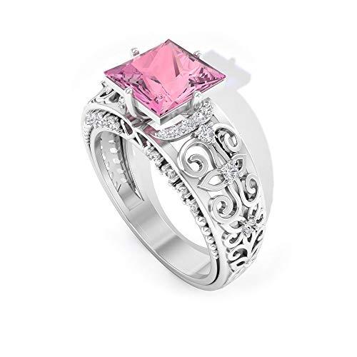 Anillo de boda de turmalina de 1,4 ct, anillo de compromiso vintage, corte princesa, anillo de diamante certificado SGL HI-SI, anillo de aniversario de novia, 14K Oro blanco, Size:EU 48