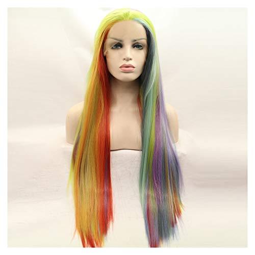 LUZIWEN Perruque température de couleur perruque avant de dentelle de fil longue ligne droite (Color : As shown)