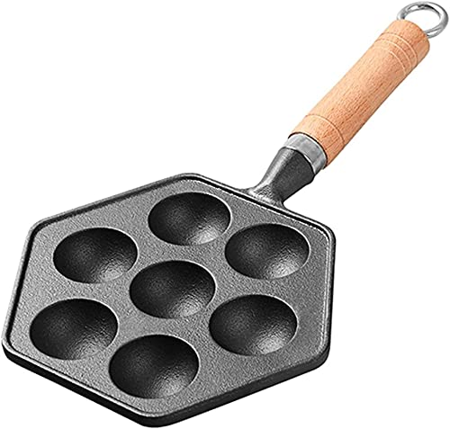 ywewsq 7 cavidades Takoyaki Pan Takoyaki Maker Pulpo Bolas pequeñas Sartén de Hierro Fundido Herramientas de Cocina para Hornear en casa Suministros de Cocina Sartén (Color: B)