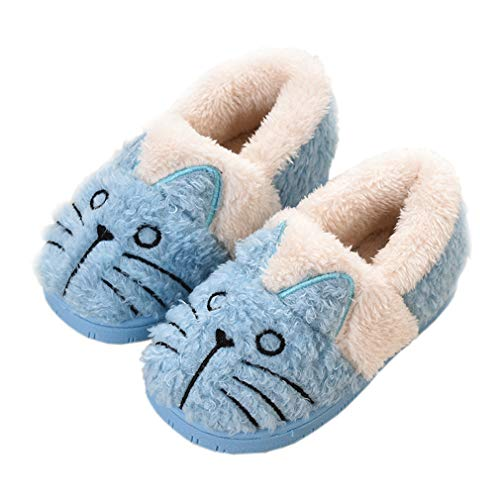 Zapatillas de Estar por Casa para Niñas Niños Invierno Zapatillas Interior Casa Caliente Pantuflas Suave Algodón Calentar Zapatilla Mujer Hombres Azul2 32-33 EU (Fabricante: 220)