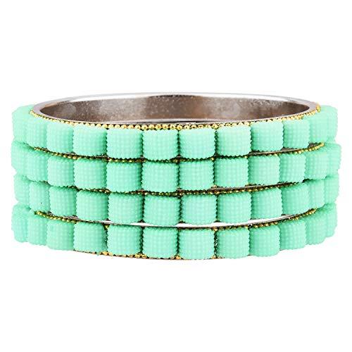Efulgenz Indisches Armreif-Set, Bollywood-Stil, Strass, grüne Kristalle, Braut-Armband-Schmuck-Set für Frauen und Mädchen (4 Stück)