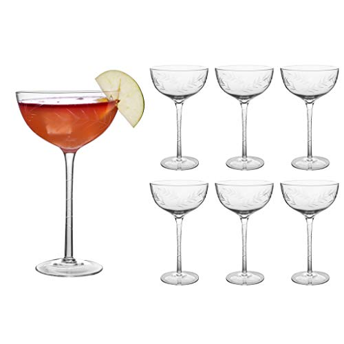 Set van 6 Deluxe 380ml (13oz) geëtst glas kristal Cocktail Coupe schotel glazen