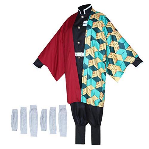Horypt Disfraz De Cosplay, Traje De Tomioka Giyuu, Kimono Unisex Para Disfraz De Fiesta De Halloween, Incluye Kimono + Top + Pantalones + Cinturn + Funda Para Piernas