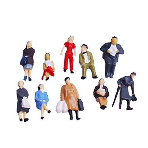 Figuras de pasajeros de tren pintados con escala 1:87 (24