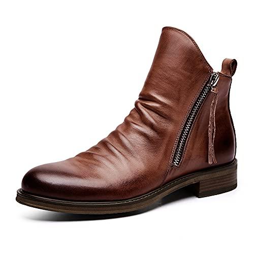 Botas Chelsea Clasicas Hombre, Vintage Botines de Hombre, Cómodas Botas Casuales de Otoño e Invierno con Cremallera