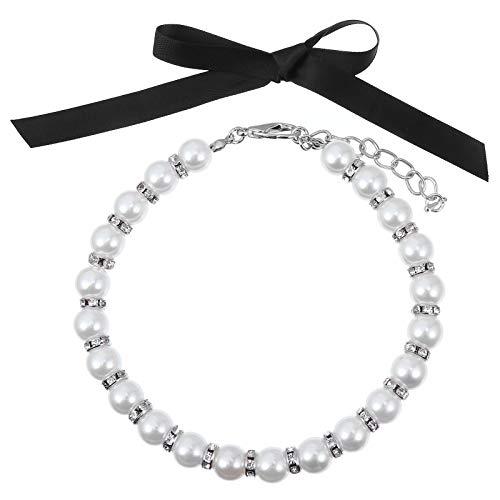 TEHAUX 1 Juego de Perlas de Moda Collar de Perro Collar de joyería para Mascotas Collar de Boda de Gato