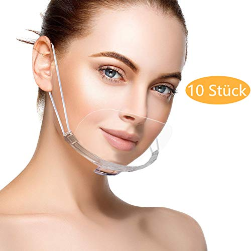 ablever 10 Stück Visier Gesichtsschutz aus Kunststoff Universal Gesichtsvisier in Transparent Anti-Fog Gesichtsschild Anti-Öl Splash Anti-Saliva Schutzvisier Face Shield für Mund Nase (Transparente)