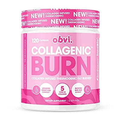 Obvi Collagenic Fat Burner Capsules, Thermogenic Fat Burner Infused with 5 Types of Collagen, Benefits Hair, Skin, Nails, Joints (30 Servings)