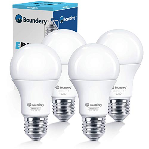 The EBULB Emergency LED Light Bulb by Boundery - Emergency Lights for Home Power Failure - Power Outage Lights - Rechargeable Battery Light Bulb - Works Like Ordinary Bulbs - 3500K 120V 60W - 4 Pack