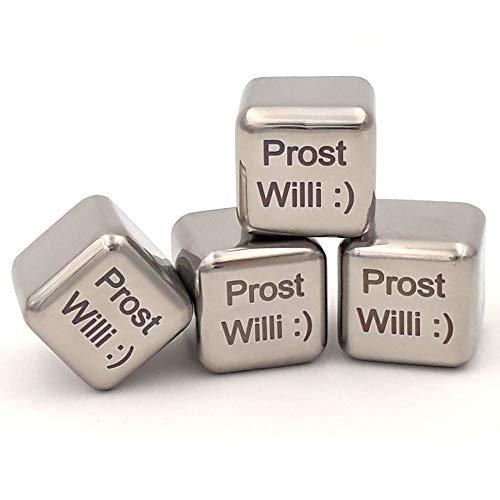 Sterngraf 4 Kühlsteine MIT Gravur (Wunschtext, z.B. Namen) Wiederverwendbare Edelstahl-Eiswürfel von vacu vin ** Whisky-Steine Ice Cubes Set