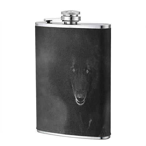 XBYC Belgischer Schäferhund, der durch Nebel Wolf Schatten 8 Unzen 304 Edelstahl schwarzer Leder eingewickelter Flachmann für Liquor Whisky Bourbon und Slim Bend geht