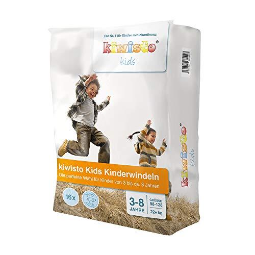 kiwisto Kids Kinderwindeln für Kinder von ca. 3 bis 8 Jahren - 22+ kg - 55-66 cm Hüftumfang - 16 Windeln