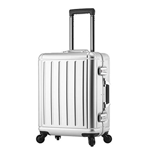 Handgepäck 100% Aluminium-Magnesium-Legierung Material Spinner Business Trolley Gepäck Marke Koffer High Grade (Farbe : Silver, Luggage Size : 20')