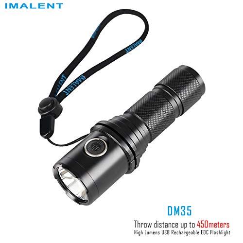IMALENT DM70 Linterna recargable con un CREE XHP70 2.0 LED de potencia de hasta 4500 lúmenes y potente lámpara compacta, Negro