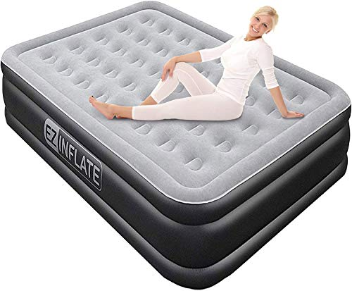 EZ INFLATE Luxury Double High Queen air Mattress with Built in Pump, Queen Size, Inflatable Mattress for Home Camping Travel, Luxury Blow up Bed at a, 2 Year Warranty