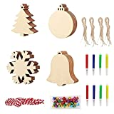 40Pcs DIY Christmas Ornaments Craft for Kids Unfinished Wooden Slices with Hole for Christmas Hanging Decorations Wood Christmas Slices for Kids to Paint