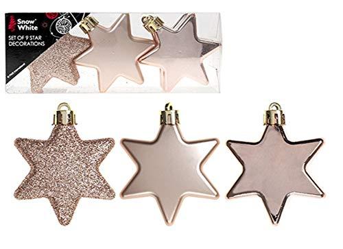 christmasshop PMS Set di 9Decorazioni 6cm Star in PVC Box Rose Gold