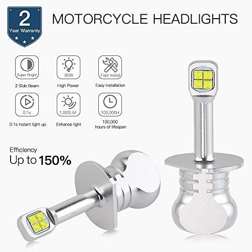 H2Racing 2Pcs Moto 1500LM/Pair 6500K Blanc Pur H1 LED Feux de Brouillard Conduire Lampe sans Canbus,LED Ampoules de Phare Remplacez Les Lampes halogènes ou DHI