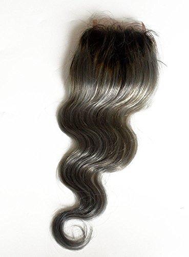 100 % cheveux humains vierges, texture ondulée suisse, fermeture sur le dessus, 10,2 x 10,2 cm, avec nœuds décolorés, couleur argent (61 cm)