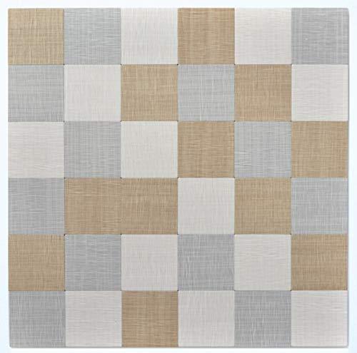 Mozaïektegel zelfklevend aluminium crème beige grijs metaal textiellook MOS200-2622_f