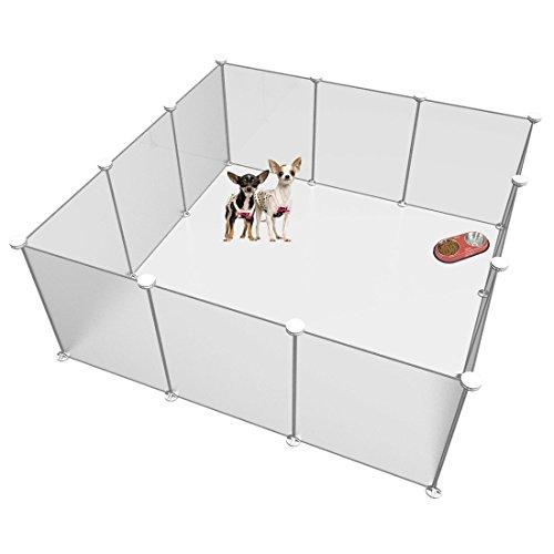 LANGXUN Freie justierbare Größe und Höhe des DIY Haustier-Laufstalls - Plastikyard-Zaun für kleine Tiere-Plastikdraht-Speicher-Würfel-Organisator - bereifte weiße 12 Platten