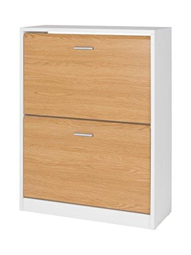 MUEBLECASA- Zpatero 2 puertas KIT, madera, Roble , Capacidad hasta 12 Pares, 85cm Alto x 65cm Ancho x 25cm Fondo.