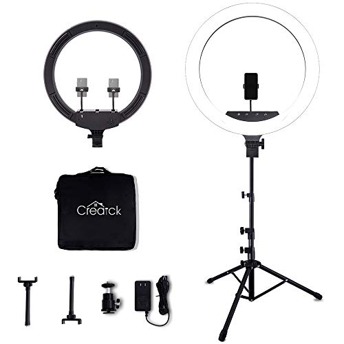 Creatck Ring Light with Stand - 18 inch LED Ring Light Kit with Phone Holder, Dimmable 2700K-5500K for Photography Makeup YouTube Video Shooting Vlogging Portrait