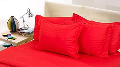"Linenwalas 100% Cotton Sateen Stripes Standard Size Pillow Cover Set of 2 - (17""X27"") - Stripes Red"