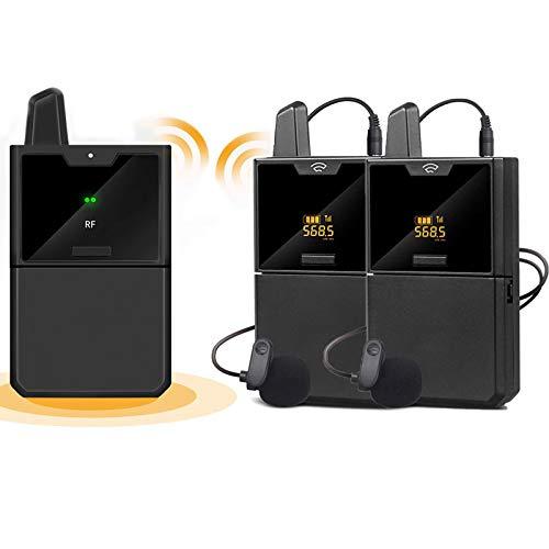 BMDHA Microfono Inalambrico, MicróFono InaláMbrico Sistema De MicróFono Compacto (con 2 Transmisores Y 1 Receptor), Microfonos Inalambricos Monitoreo De Audio