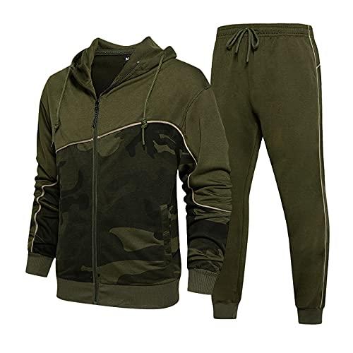 Tuta sportiva da uomo da jogging, pantaloni sportivi Top con cappuccio camicetta pantaloni lunghi imposta uomo autunno patchwork manica lunga ( XL,3army green )