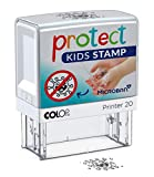 COLOP Protect Kids Stamp - Sello motivador para que los niños laven las manos, versión alemana.
