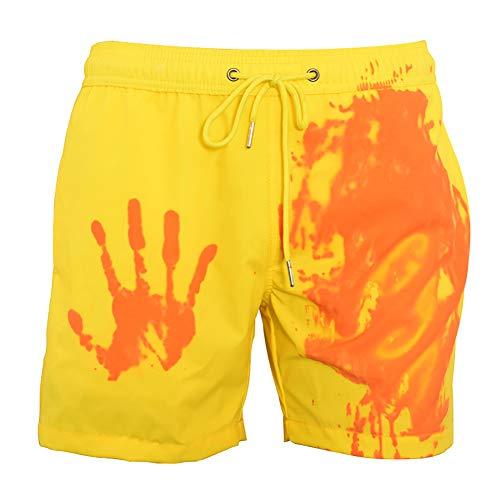 Ouduo Cambia Colore Spiaggia Pantaloncini Uomini, Estate Asciugatura Rapida Pantaloncini Nuoto Costume da Bagno per Sport, Spiaggia, Nuoto Festa (Giallo,XL)