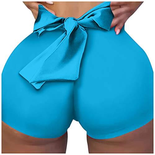Leggings Deportivos de Color Sólido con Bowknot Pantalones Cortos para Mujer Mallas de Yoga Pantalón de Deporte Shorts Transpirables Elásticos Leggins Push Up de Cintura Alta