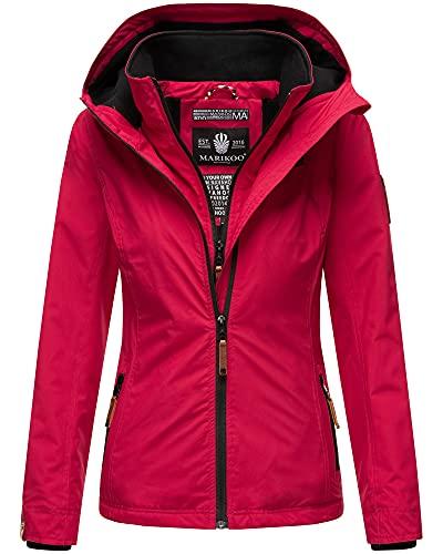 MARIKOO Damen Übergangsjacke Outdoor Regenjacke Fleece Jacke Gefüttert Kapuze XS - XXL ERDBEERE (L, Fuchsia)