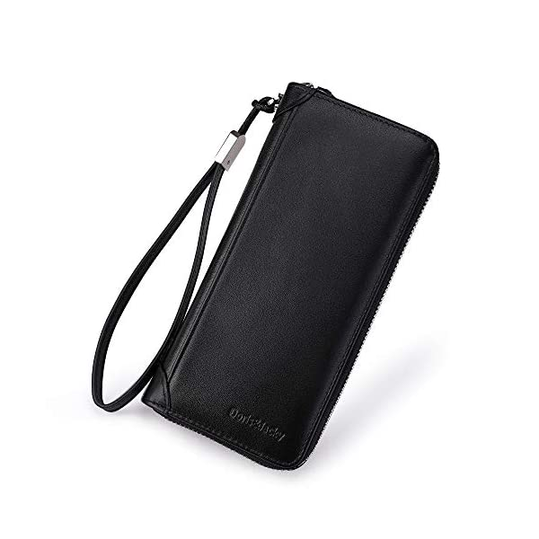 Women Leather Wallet Rfid Blocking Large Capacity Zipper Around Travel Wristlet Bags 1