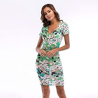 ZCLAU Elegant Dress V-Neck Printed Package Hip Pencil Skirt (Color : Green Flower, Size : XS)