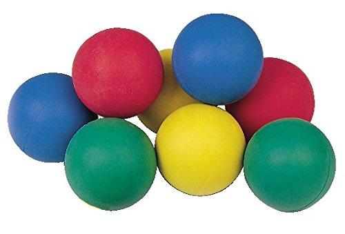 Sport-Thieme Moosgummibälle 12er Set + Netztasche | 12 x Bunte Gummibälle für Kinder, Hunde, Katzen, als Handtrainer, zum Jonglieren | Aus robustem Moosgummi | ø 6,5 cm | ca. 60 g