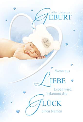 Babykarte Junge | Glückwunschkarten zur Geburt Junge | Geburtskarten | Grußkarten Geburt | Karte Baby im Set | Karte in Folie | DIN A6 | Klappkarte inkl. Umschlag | Motiv: Boy