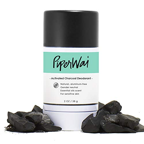 PiperWai Natural, Organic, Vegan, Non-Toxic, Cruelty-Free Aluminum-Free Charcoal Deodorant Stick (2.7 oz), Odor-Absorbing and Wetness Fighting, Coconut Oil, Gender-Neutral (As Seen on Shark Tank)