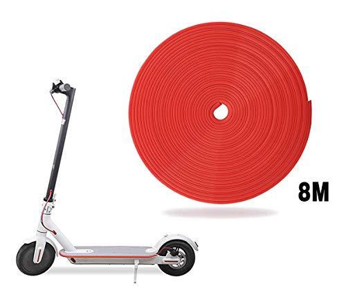 AUVSTAR Eléctrico Scooter Tiras Decorativas,Tira Anticolisión Strip,Tira Anticolisión del Cuerpo de Vespa para Las Piezas Eléctricas de Vespa del Coche del patín de Xiaomi Mijia M365. (Rojo)