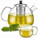 Zoe&Mii Teeservice - Teekanne mit Siebeinsatz - Teekanne mit Tasse - Teebereiter aus Glas 1.5 Liter...