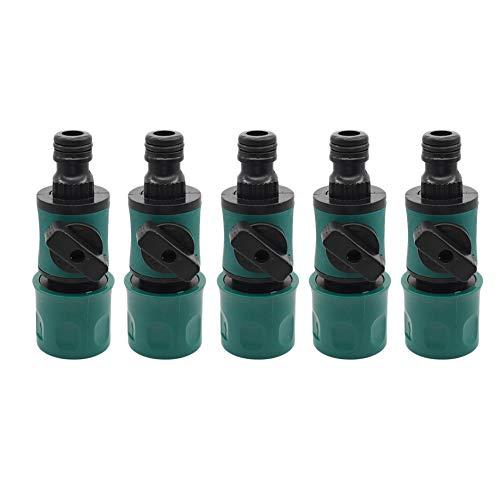 ZEL Interruptor de Adaptador de Manguera de 5 Piezas con válvula, Material plástico ecológico, Junta de Goma en Forma de O Función de Control de Flujo antifugas